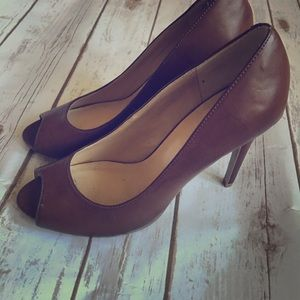 Size 8 - Brown Peep Toe Pumps